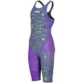 arena Powerskin ST 2.0 Cuerpo completo Pierna corta Espalda abierta LTD Edition 2019 Niñas, violeta/verde